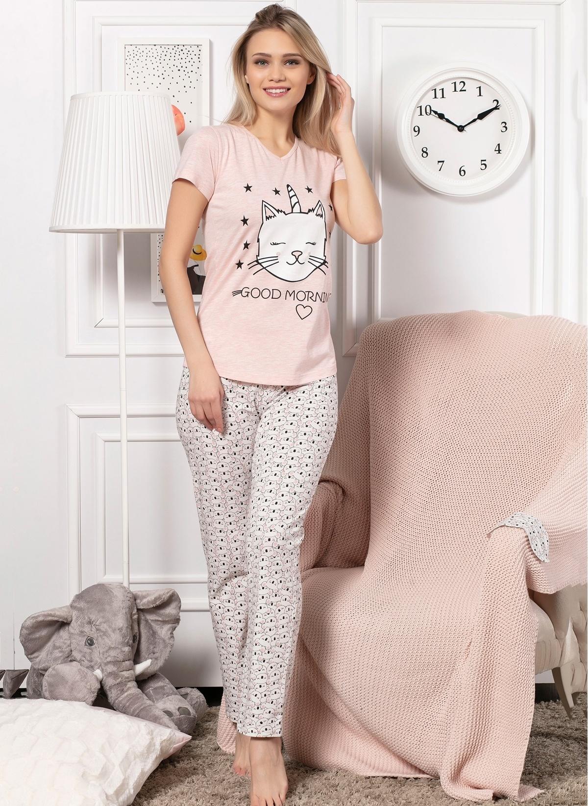 84a0fc5cd7cbf Elitol Kadın Pamuklu Likralı Bayan Pijama Takım Pembe Melanj ...